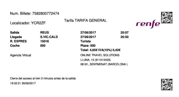 Billete Tren Reus  Sant Vicenç De Calders 27/06/2017