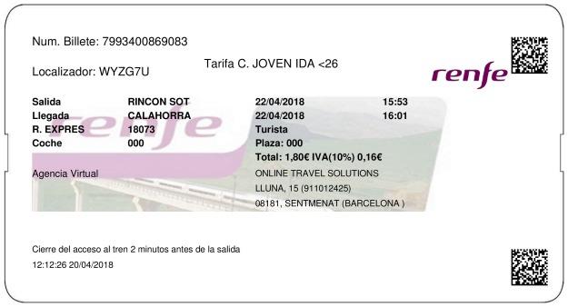 Billete Tren Rincón de Soto  Calahorra 22/04/2018