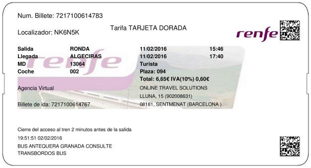 Billete Tren Ronda  Algeciras 11/02/2016