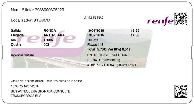 Billete Tren Ronda  Antequera 19/07/2016