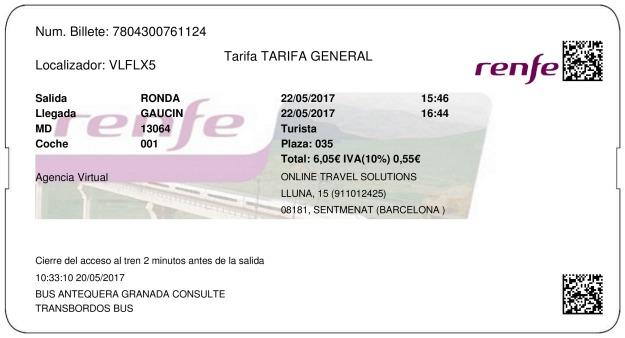 Billete Tren Ronda  Gaucín 22/05/2017