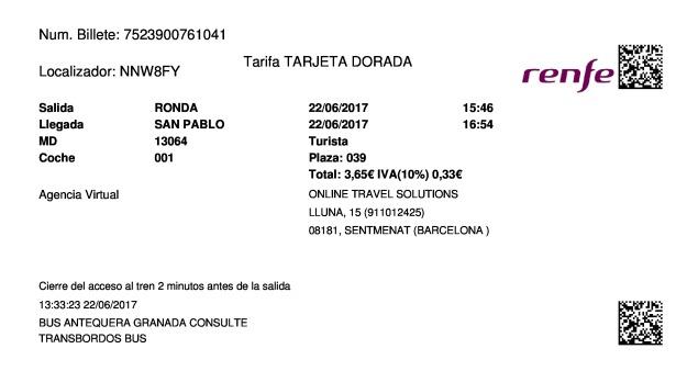 Billete Tren Ronda  San Pablo de Buceite 22/06/2017