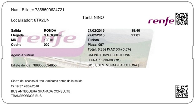 Billete Tren Ronda  San Roque 27/02/2016