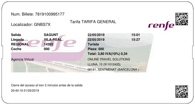 Billete Tren Sagunto  Villarreal 22/05/2019