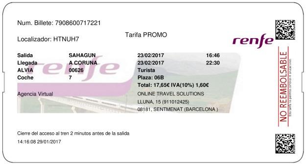 Billete Tren Sahagún  La Coruña 23/02/2017