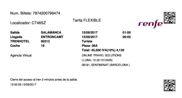 Billete Tren Salamanca  Entroncamt 15/09/2017