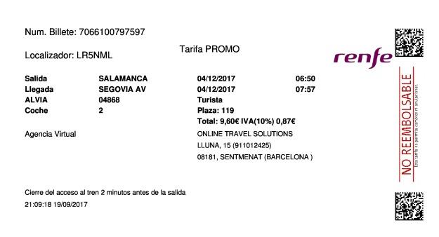 Billete Tren Salamanca  Segovia 04/12/2017