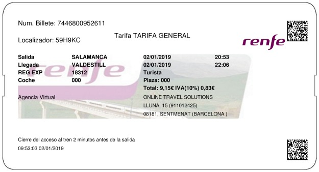Billete Tren Salamanca  Valdestillas 02/01/2019