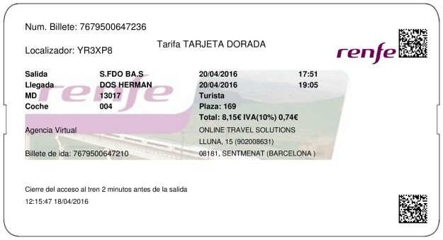 Billete Tren San Fernando Bahía Sur  Dos Hermanas 20/04/2016