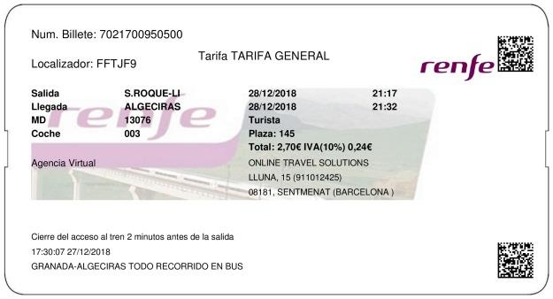 Billete Tren San Roque  Algeciras 28/12/2018