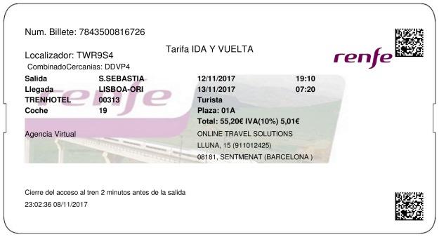 Billete Tren San Sebastián   12/11/2017