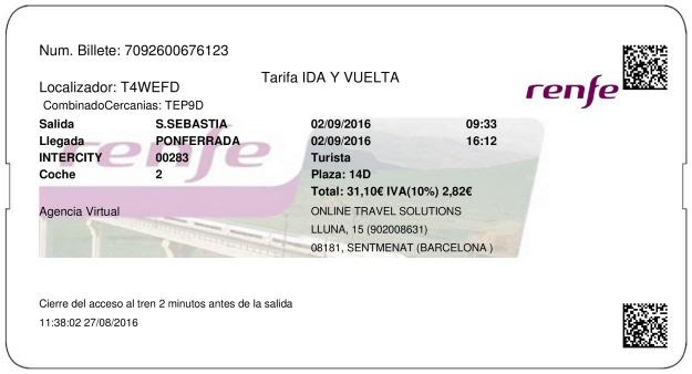 Billete Tren San Sebastián  Ponferrada 02/09/2016