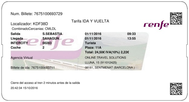 Billete Tren San Sebastián  Sahagún 01/11/2016