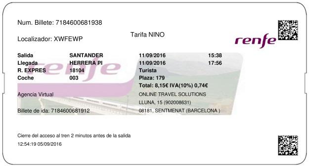 Billete Tren Santander  Herrera De Pisuerga 11/09/2016