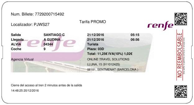 Billete Tren Santiago De Compostela  A Gudiña 21/12/2016