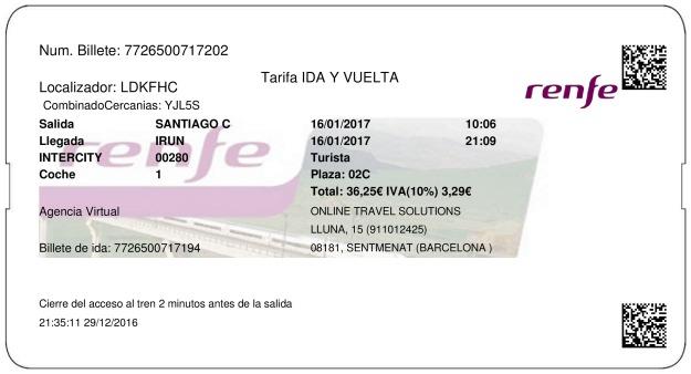 Billete Tren Santiago de Compostela  Irun 16/01/2017