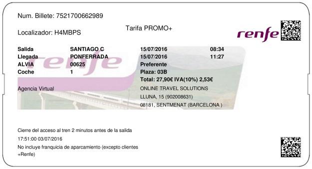 Billete Tren Santiago De Compostela  Ponferrada 15/07/2016