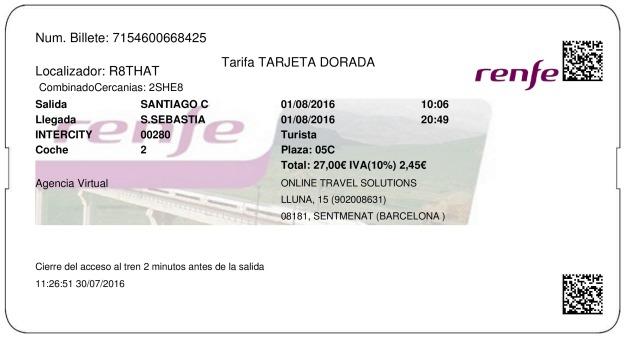 Billete Tren Santiago de Compostela  Saint Sebastian 01/08/2016