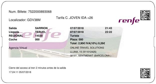 Billete Tren Sarrión  Teruel 07/07/2018