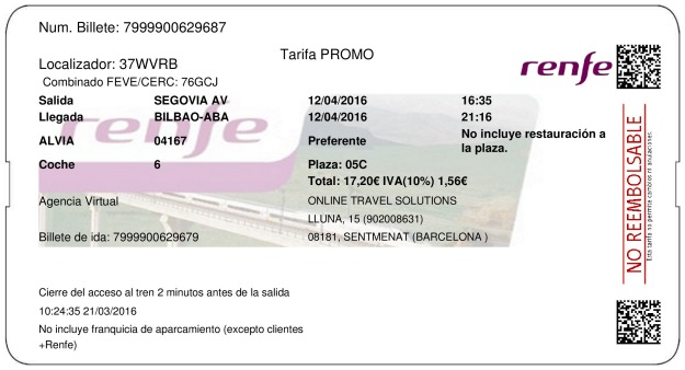 Billete Tren Segovia  Bilbao 12/04/2016
