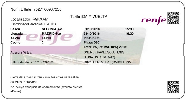 Billete Tren Segovia  Madrid 31/10/2018