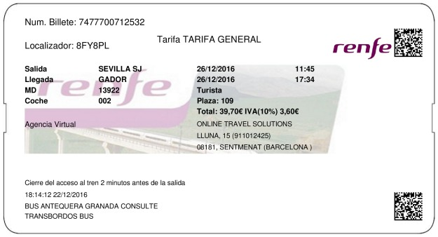 Billete Tren Sevilla  Gádor 26/12/2016