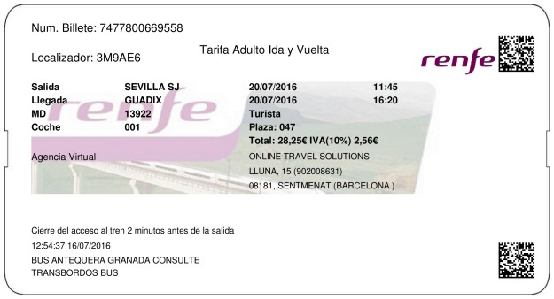 Billete Tren Sevilla  Guadix 20/07/2016