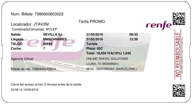 Billete Tren Sevilla  Manzanares 31/05/2016