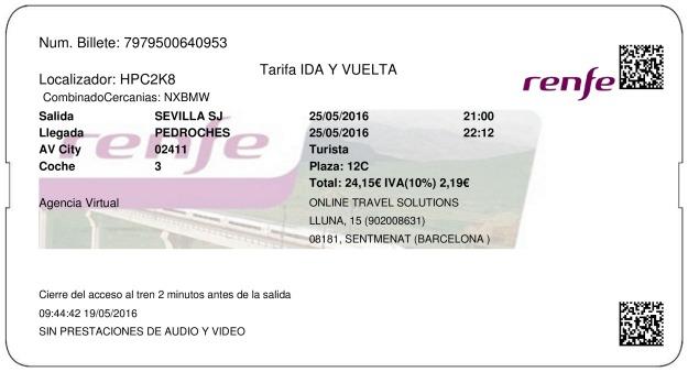 Billete Tren Sevilla  Villanueva de Córdoba 25/05/2016