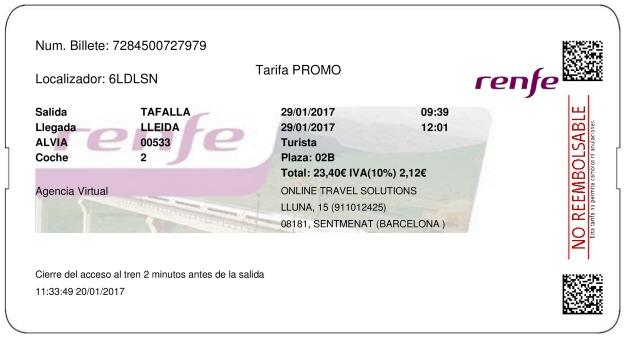 Billete Tren Tafalla  Lleida 29/01/2017
