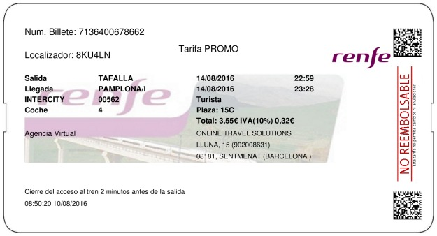 Billete Tren Tafalla  Pamplona 14/08/2016