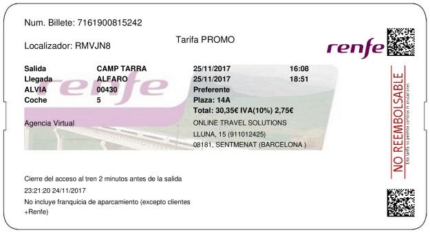 Billete Tren Tarragona  Alfaro 25/11/2017
