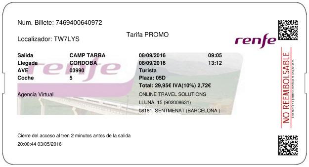 Billete Tren Tarragona  Córdoba 08/09/2016