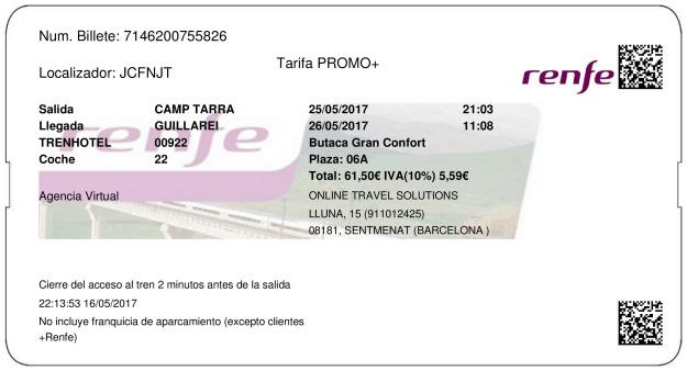 Billete Tren Tarragone  Guillarei 25/05/2017