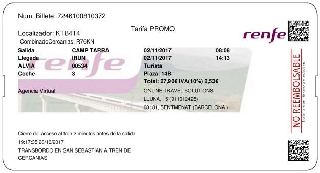 Billete Tren Tarragona  Irún 02/11/2017