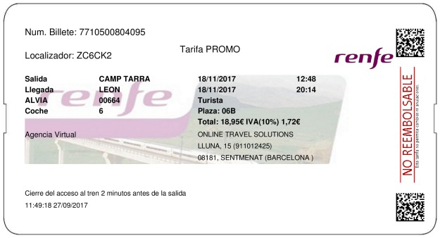 Billete Tren Tarragona  León 18/11/2017