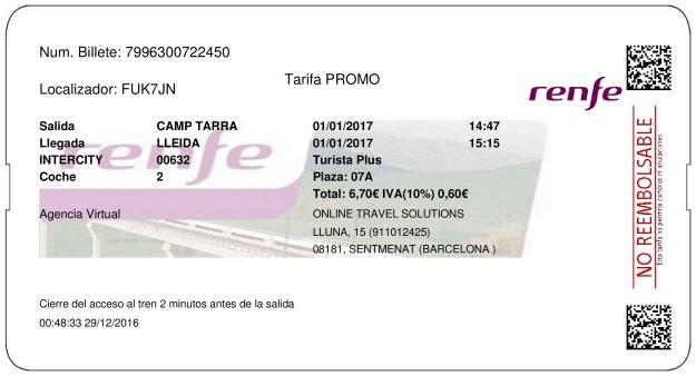 Billete Tren Tarragona  Lleida 01/01/2017