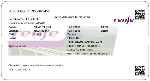 Billete Tren Tarragona  Madrid 19/11/2016
