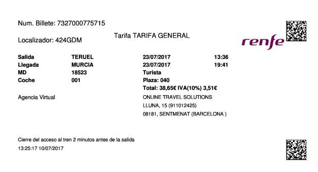 Billete Tren Teruel  Murcia 23/07/2017
