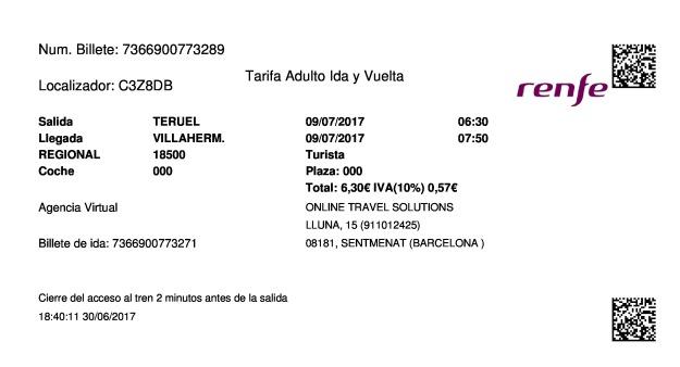 Billete Tren Teruel  Villahermosa 09/07/2017