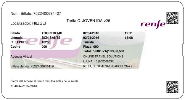 Billete Tren Torredembarra  Barcelone 02/04/2016