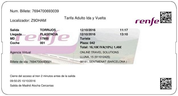 Billete Tren Torrijos  Plasencia 12/10/2016