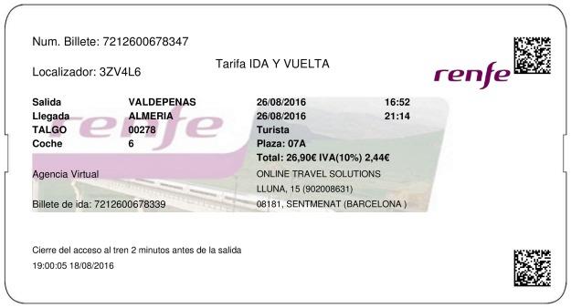 Billete Tren Valdepeñas  Almería 26/08/2016