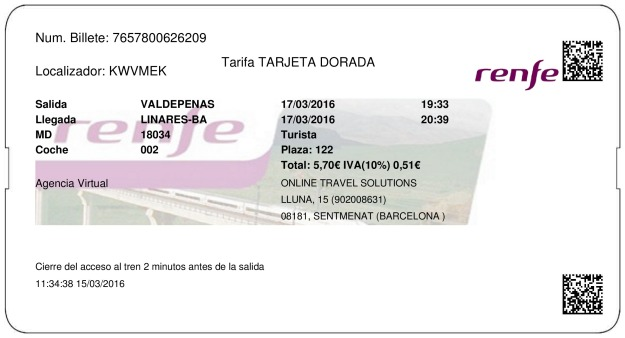 Billete Tren Valdepeñas  Linares 17/03/2016