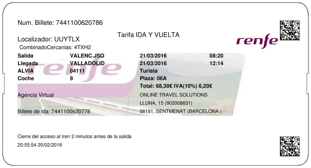 Billete Tren Valencia  Valladolid 21/03/2016