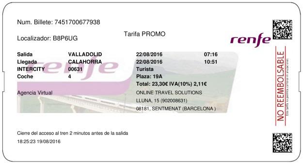 Billete Tren Valladolid  Calahorra 22/08/2016