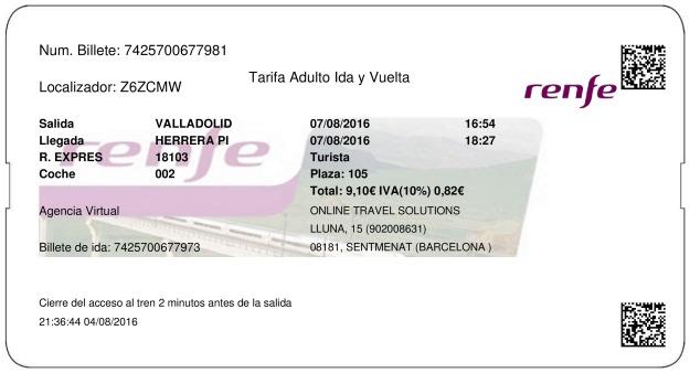 Billete Tren Valladolid  Herrera De Pisuerga 07/08/2016