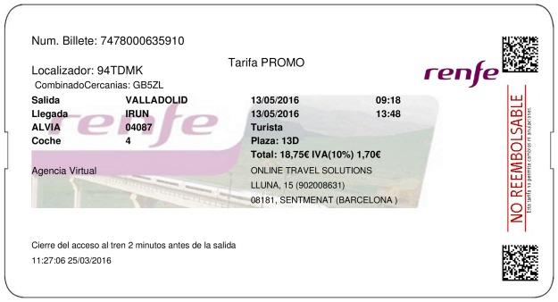 Billete Tren Valladolid  Irún 13/05/2016