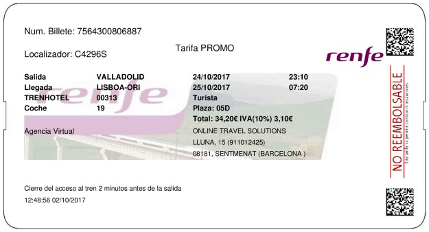 Billete Tren Valladolid   24/10/2017