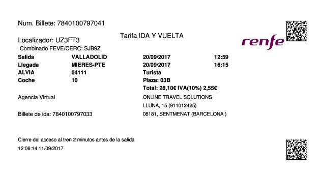Billete Tren Valladolid  Mieres Puente 20/09/2017